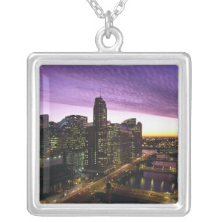 USA, IL, Chicago. Chicago skyline and river Square Pendant Necklace