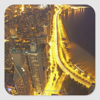 USA, Illinois, aerial view of Chicago at dusk Square Sticker