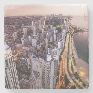 USA, Illinois, Chicago, Aerial view of Lake Stone Beverage Coaster