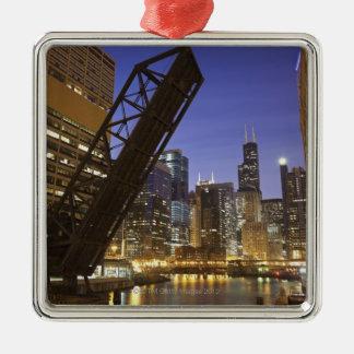 USA, Illinois, Chicago, Chicago River Metal Ornament