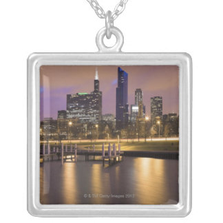 USA, Illinois, Chicago, City skyline and marina Silver Plated Necklace