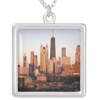 USA, Illinois, Chicago, City skyline at sunset Silver Plated Necklace