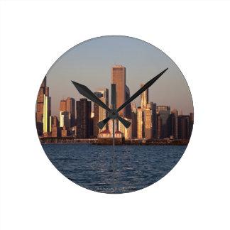 USA, Illinois, Chicago, City skyline over Lake 2 Round Clock