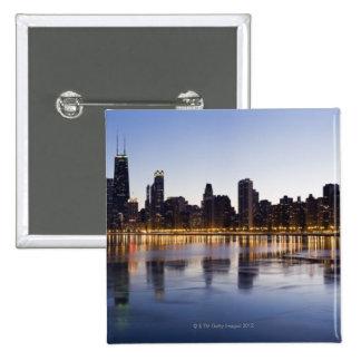 USA, Illinois, Chicago, City skyline over Lake 6 Button