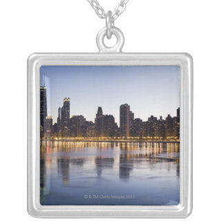 USA, Illinois, Chicago, City skyline over Lake 6 Silver Plated Necklace
