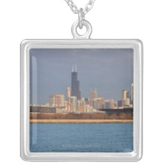 USA, Illinois, Chicago, City skyline over Lake 9 Silver Plated Necklace