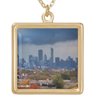 USA, Illinois, Chicago, cityscape Gold Plated Necklace