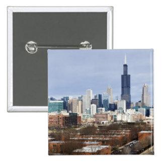USA Illinois Chicago skyline 2 Button
