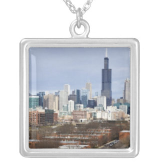 USA, Illinois, Chicago skyline 2 Silver Plated Necklace
