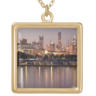 USA, Illinois, Chicago skyline at dusk Gold Plated Necklace