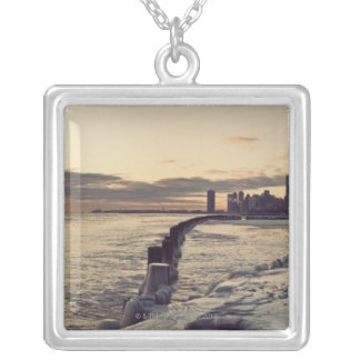 USA, Illinois, Chicago, Skyline at sunrise Silver Plated Necklace