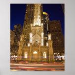 USA, Illinois, Chicago, Water Tower illuminated Poster