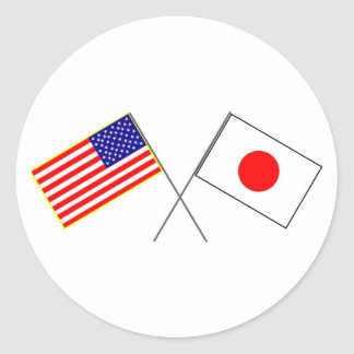 USA JAPAN flags Classic Round Sticker