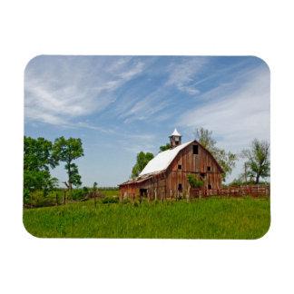 USA, Kansas. Old Red Barn Rectangular Photo Magnet