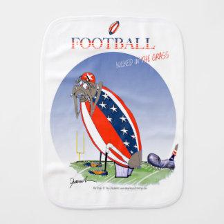 USA kicked in the grass, tony fernandes Burp Cloth