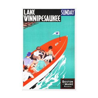 USA Lake Winnipesaukee Restored Vintage Poster Canvas Print