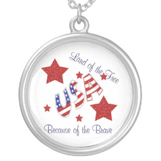 USA Land of the Free Because of the Brave Silver Plated Necklace