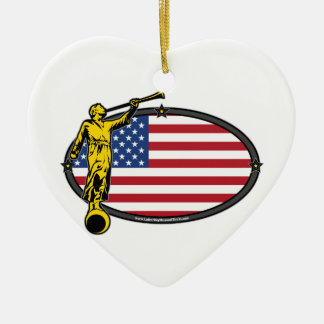 USA LDS Mission Oval no Label Ceramic Heart Decoration