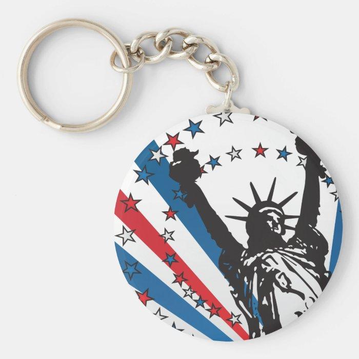 USA Liberty Basic Round Button Key Ring