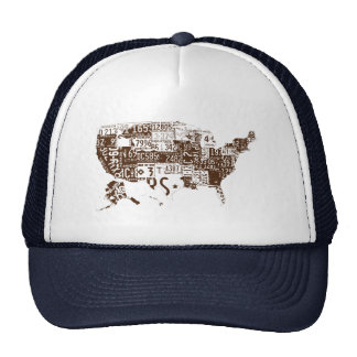 USA license plates - all states brown Mesh Hat