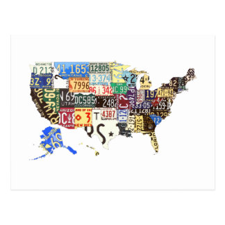 USA license plates - all states vintage Postcard