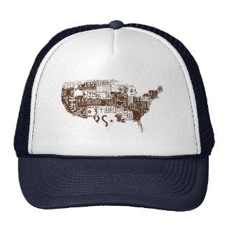 USA license plates brown Mesh Hat