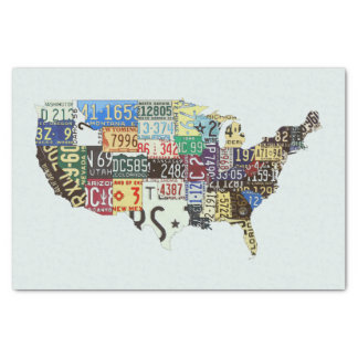 "USA license plates vintage 10"" X 15"" Tissue Paper"