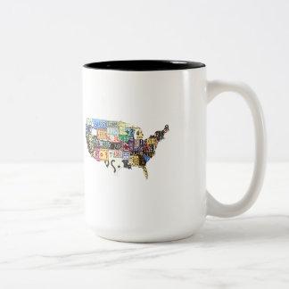 USA license plates vintage Mug