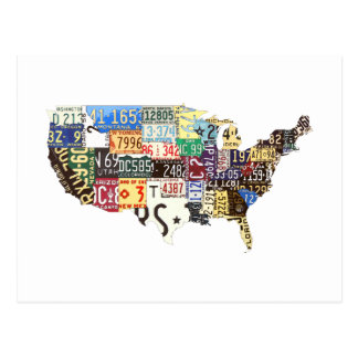 USA license plates vintage Postcard