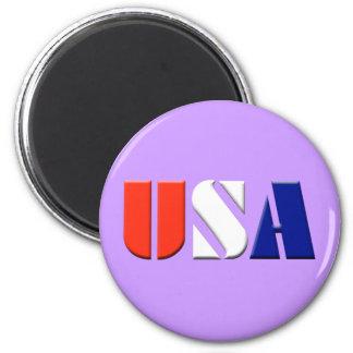 USA - (light purple) 6 Cm Round Magnet