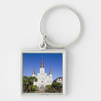 USA, Louisiana, New Orleans. French Quarter, Silver-Colored Square Key Ring
