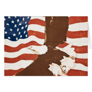 USA, Louisiana, Port Allen. Patriotic mural Card