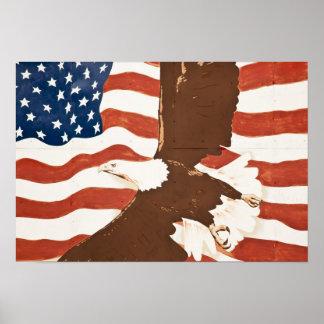 USA, Louisiana, Port Allen. Patriotic mural Print