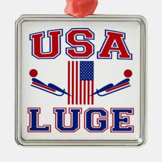 USA Luge Metal Ornament