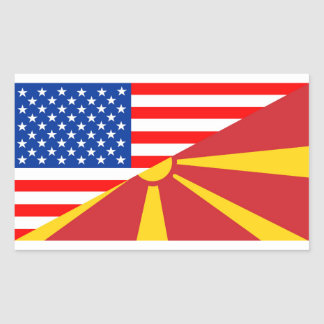 usa macedonia country half flag america symbol rectangular sticker