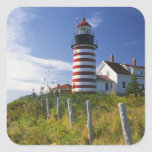 USA, Maine, Lubec. West Quoddy Head Lighthouse Square Stickers