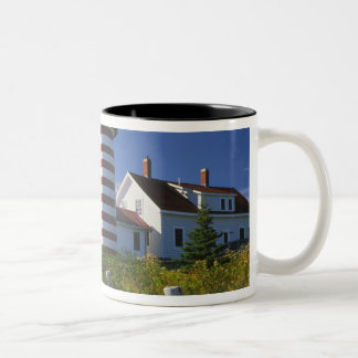 USA, Maine, Lubec. West Quoddy Head Lighthouse Two-Tone Mug