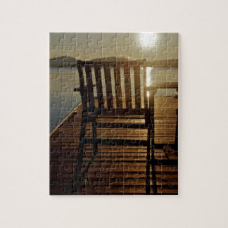 USA, Maine, Rockwood. A chair with a view of Jigsaw Puzzle