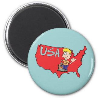 USA Map Cartoon Art 6 Cm Round Magnet