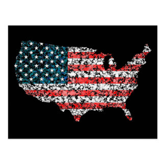 USA map flag splatter of paint United States Postcard