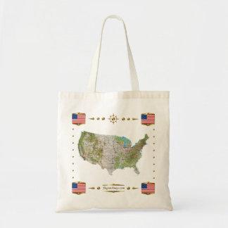 USA Map + Flags Bag