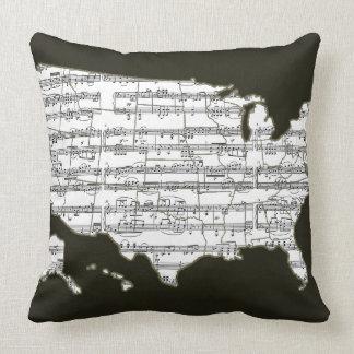 USA map & musical notes Cushion