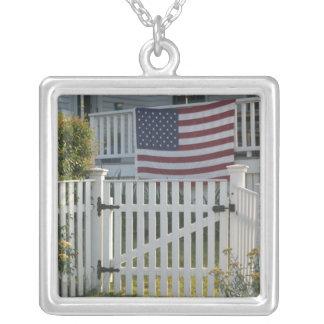 USA, Massachusettes, Gloucester: Patriotic Fence Square Pendant Necklace
