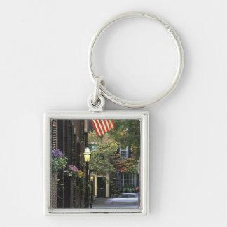 USA, Massachusetts, Boston, Beacon Hill. Silver-Colored Square Key Ring