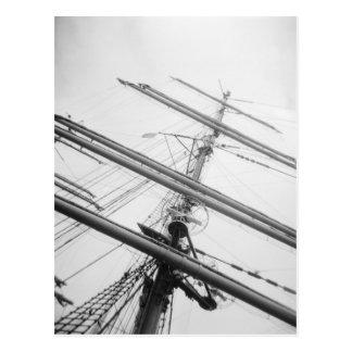 USA, Massachusetts, Boston. Masts of tall ship. Postcard
