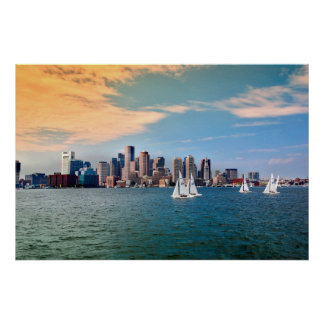 USA, Massachusetts. Boston Waterfront Skyline 3 Print