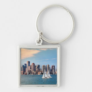 USA, Massachusetts. Boston Waterfront Skyline 3 Silver-Colored Square Key Ring