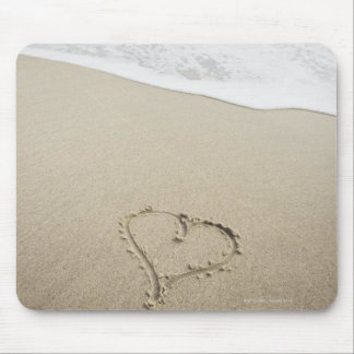 USA, Massachusetts, Hearts drawn on sandy beach Mouse Pad
