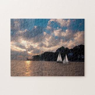 USA, Massachusetts. Sunset Sailing Jigsaw Puzzle