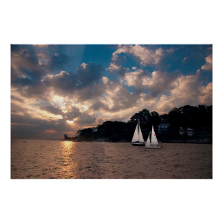 USA, Massachusetts. Sunset Sailing Poster